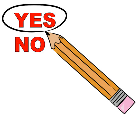 yes and no: pencil choosing yes and circling it - vector