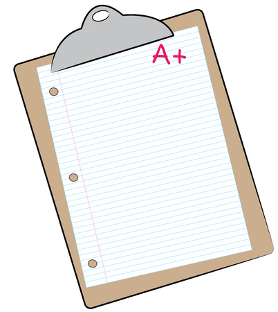 filler: clipboard with lined paper marked with A+ - making the grade - vector Illustration