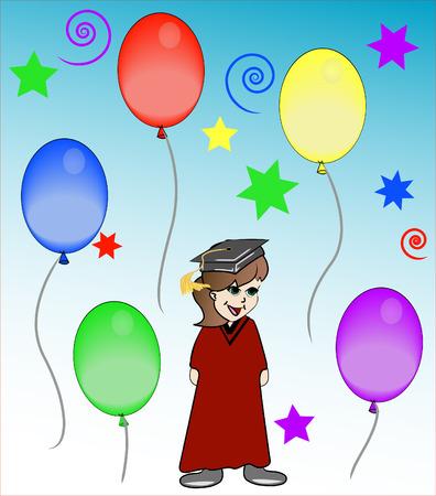 achievement concept: girl at graduation celebration or party - vector