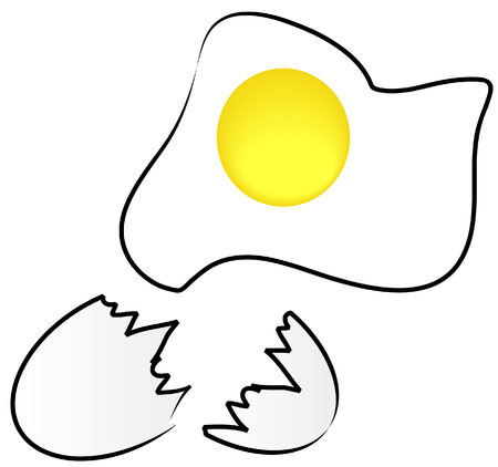 ovum: fried egg with cracked shell - healthy breakfast - vector