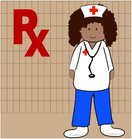 medical assistant: enfermera o farmac�utico en condiciones de dar recetas - vector Vectores