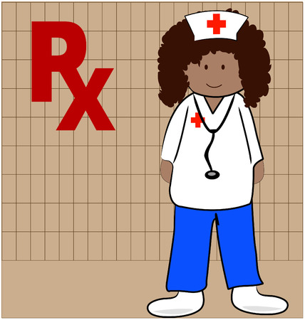 nurse or pharmacist able to give out prescriptions - vector Vector