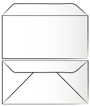 view of white envelope from the front and back - vector Vector