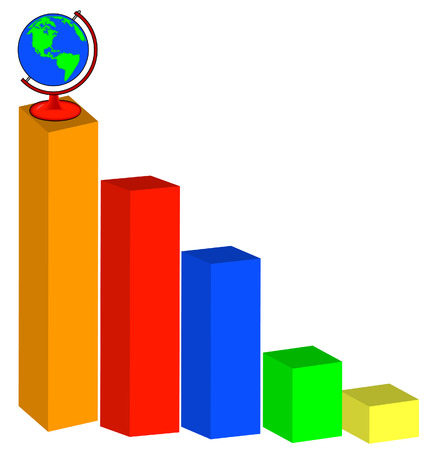 3d bar graph with globe sitting on top - vector Vector