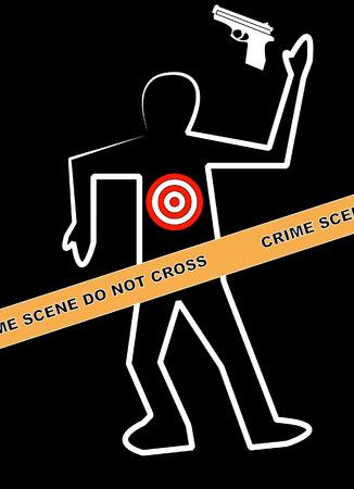 murder scene: esquema corporal con arma de fuego y sobre la persona objetivo - marcado matar - vector