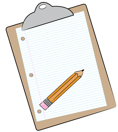 checklist: clipboard with pencil and lined paper attached - vector