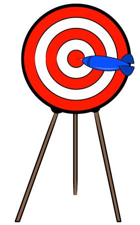 dart hitting bullseye on target on a stand - vector Vector