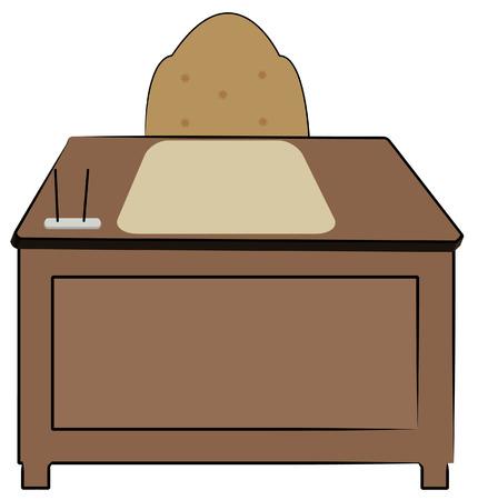 wooden work: legno scrivania con sedia per ufficio e forniture fermo - vettore