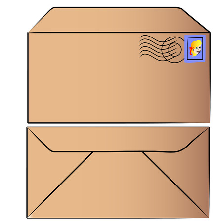 front and back of stamped brown envelope - vector Vector