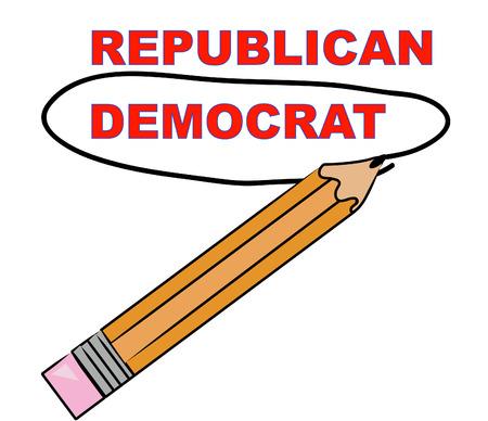 democrat: pencil choosing democrat over republican - vector