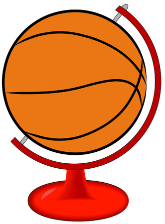 nba: basketball on globe stand - international sport - vector