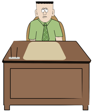 auditing: frustrated overworked business man sitting at his desk - vector Illustration