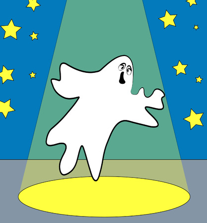 paranormal: ghost on stage or under the spotlight - vector Illustration