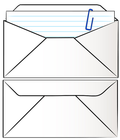 front and back of white envelope stuffed with letter - vector Vector