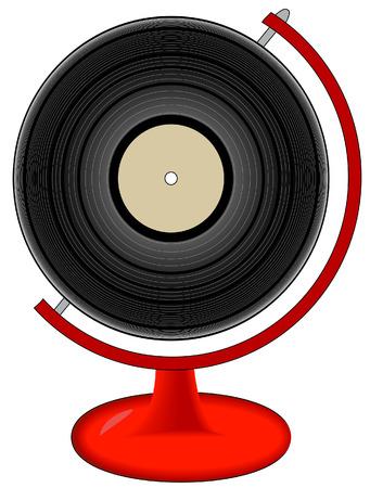 lp: record or lp on globe stand - international music - vector  Illustration