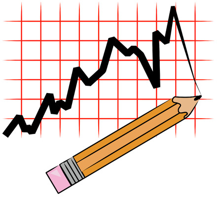 pencil drawing line graph on grid - vector Vector