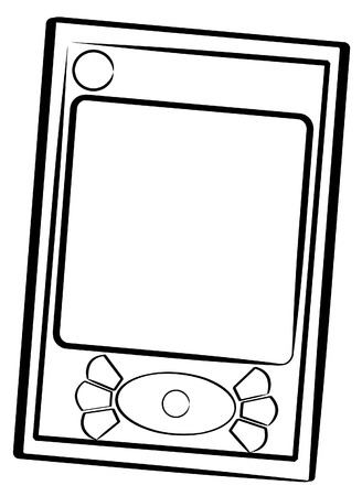 hand held: outline of hand held organizer or pda - vector  Illustration