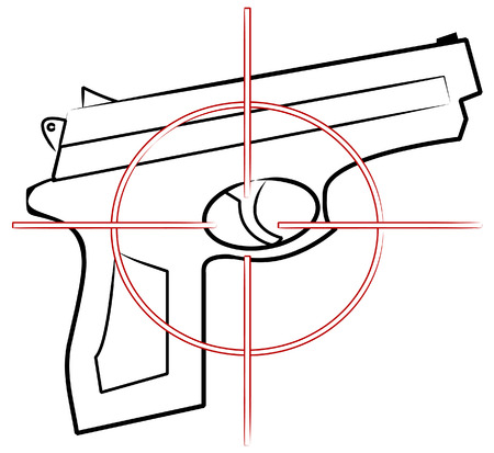 top gun: hand gun outline with cross hair target on top - vector