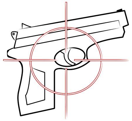 mano pistola: mano pistola delineare con mirino bersaglio in cima - vettore  Vettoriali