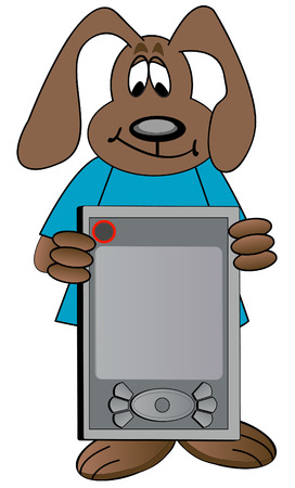 agenda electr�nica: perro de dibujos animados en la celebraci�n de PDA organizador - vector