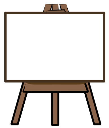 illustration promoting: white board standing on easel - add your own words - vector