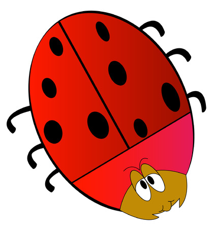 cartoon of red lady bug isolated on white - vector Stock Vector - 2704155