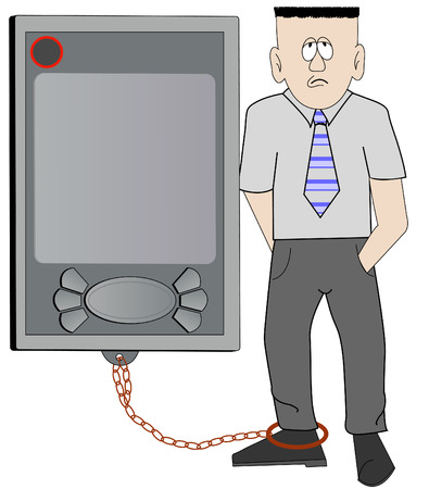 overworked: business man chained to his pda - concept overworked - vector