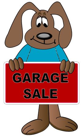 soliciting: dog holding sign up for garage sale - vector Stock Photo