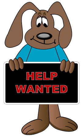 soliciting: cartoon dog holding up help wanted sign - vector