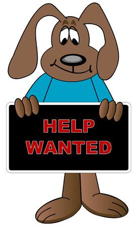 help wanted sign: perro de dibujos animados hasta la celebraci�n de ayudar quer�a firmar - vector  Vectores