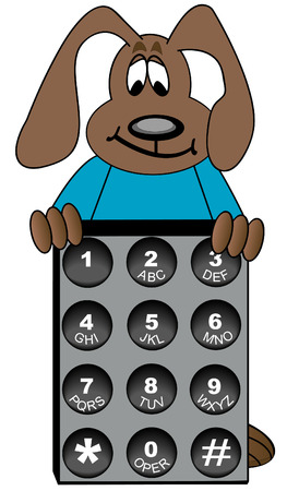 telephone cartoon: dog cartoon standing behind phone number key pad - vector Illustration