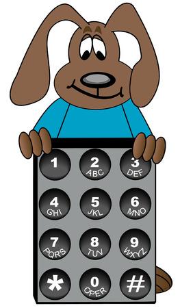 telefon: pies kreskówkową stojących za numer telefonu klawisz opuszki - wektor Ilustracja