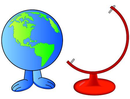runaway: mundo o de la tierra al lado de mundo de pie - vector