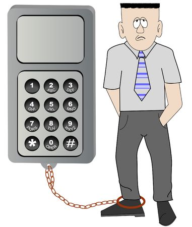obsessed: business man chained to his cell phone - unable to leave work - vector