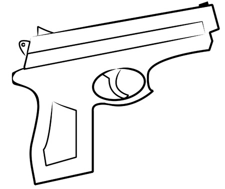 robbery: outline of hand gun isolated on white - vector