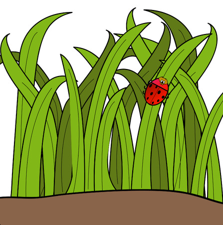 macro leaf: lady bug cartoon climbing up a blade of grass - vector Illustration