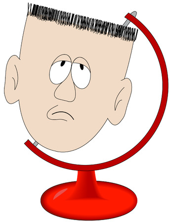 worked: cartoon head of man in globe stand - vector Illustration