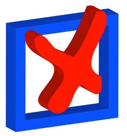 red x: 3D box with red x or no as choice - vector