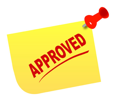 acknowledgment: yellow thumb tacked note with the words approved - vector Illustration