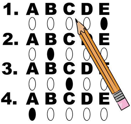 pencil filling in circles on multiple choice test - vector