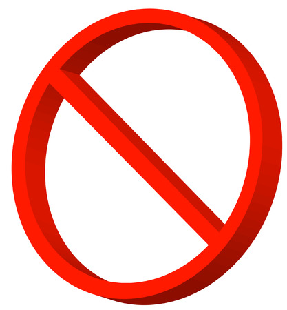 3d red not allowed or prohibited symbol - vector Vector