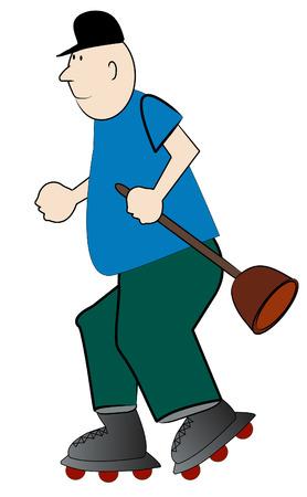 adjustable: cartoon of man plummer hurrying on rollerskates - vector