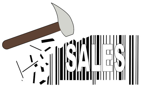 hammer smashing down sales barcode - slashed prices - vector Vector