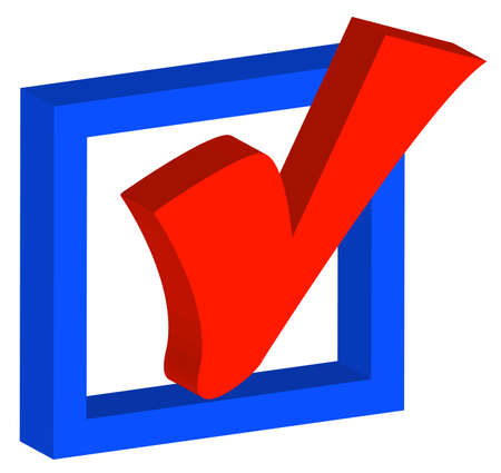 evaluate: 3d blue box with red check mark or tick - vector Illustration