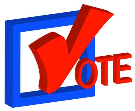 verkiezingen: 3D-box en vinkje aangeeft te stemmen - vector Stock Illustratie
