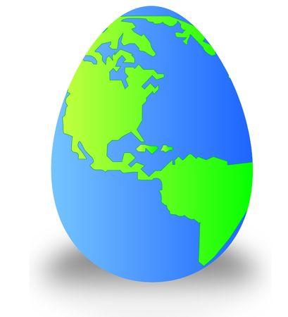 globe terrestre dessin: la terre dans la forme dun oeuf - vecteur