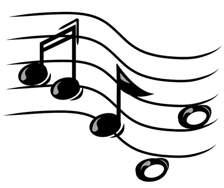 music theory: musical note on staff - vector image