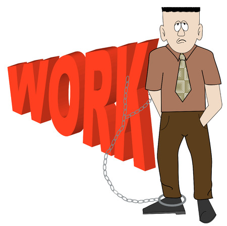 overtime: cartoon of exhausted business man chained to his work - vector