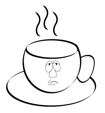 coffee or tea mug outline with exhausted face - vector Vector