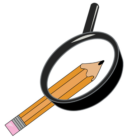 creative arts: orange pencil being magnified with magnifying glass - vector